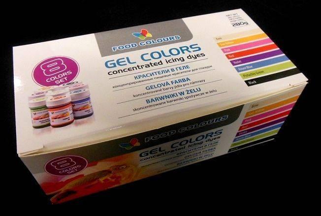 Sada gelových barev (8 ks) Food Colours