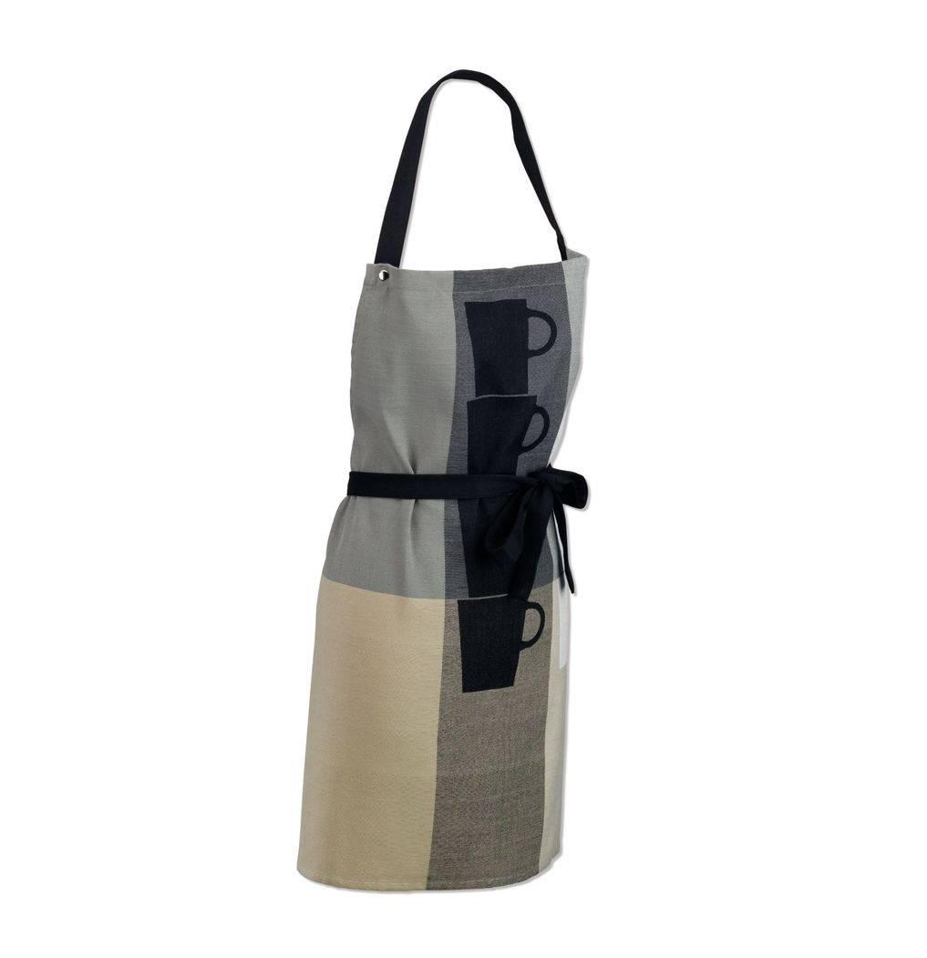 Zástěra kuchyňská TABEA 100% bavlna, dekor hrnek, béžová / šedá 67x8 - Kela Kela