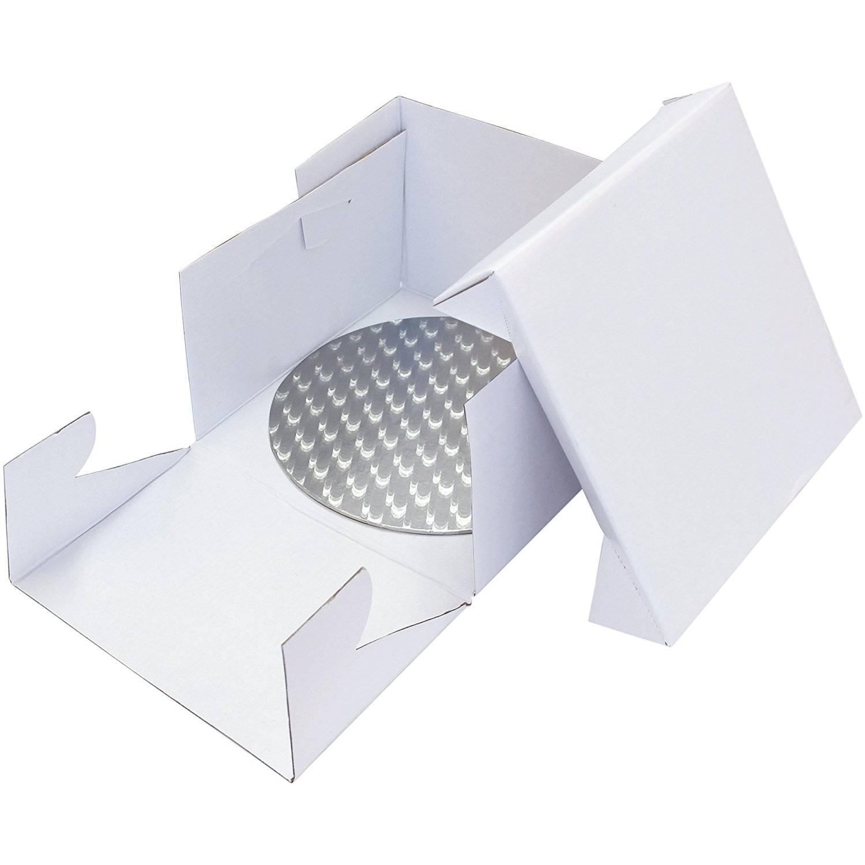 Podložka dortová stříbrná kruh průměr 33,5cm+ dortová krabice PME