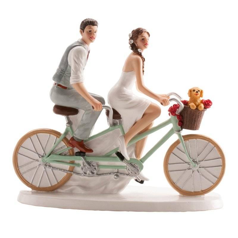 Svatební figurka na dort 16x18cm cyklisté Dekora