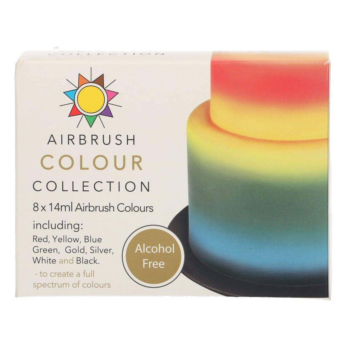 Sada barev na airbrush bez alkoholu 8x14ml Sugarflair
